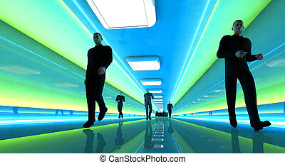 In the Corridor - Business men walking down a airport...