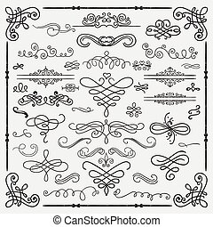 Vector Black Vintage Hand Drawn Swirls Collection - Set of...