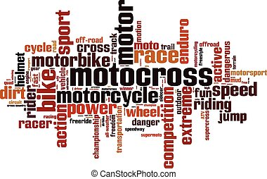 Motocross word cloud concept Vector illustration
