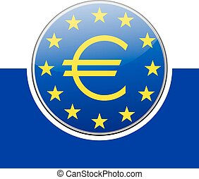 ECB - European Central Bank - blue sign with stars on white...
