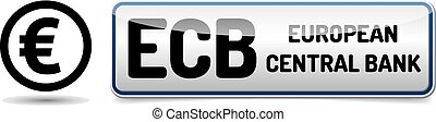ECB - European Central Bank - glossy button banner with...