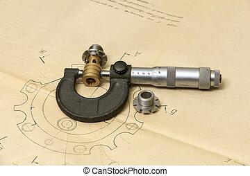 teknisk, Mätning, redskapen, teckning
