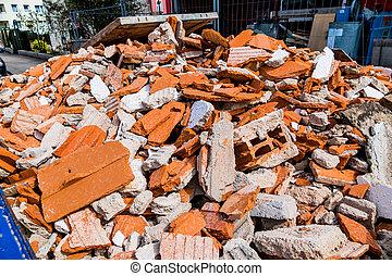 construction debris at construction site - construction...