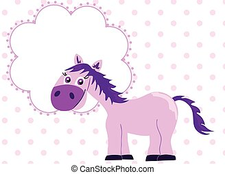 Pink princess horse with blank bann