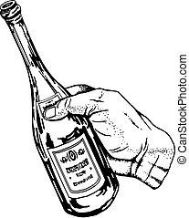bottle of wine in hand