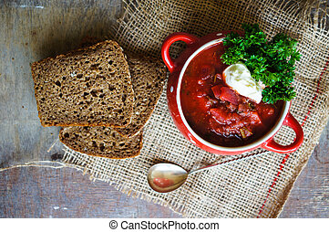 Ukrainian borsch - Traditional ukrainian soup - borsch, on...