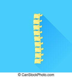 Backbone Icon Isolated on Blue Background. Long Shadow.