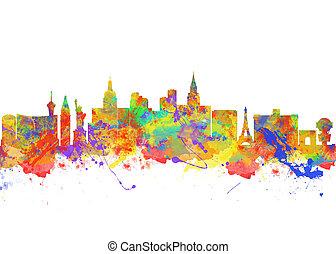 都市, 芸術, アメリカ, 水彩画, スカイライン,  vegas, 印刷, ネバダ,  las