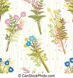 Springtime Colorful Flower with Wild Grass Background -...