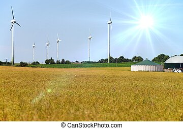 Agriculture - Grain field with wind turbines and biogas...