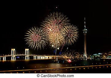 Macao, internacional, fuegos artificiales,...