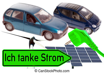 Electric Car - Electric cars and shield with the german...