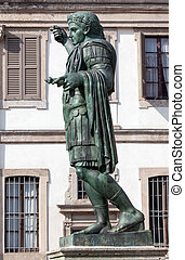 Bronze statue of the Roman Emperor Constantine who issued...