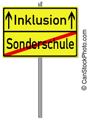 Inclusion - Sign with the german words inclusion and special...