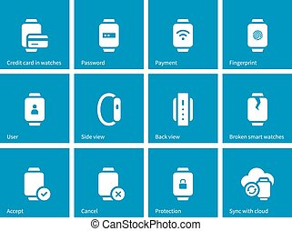 Payment with smart watch icons on blue background Vector...