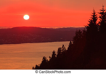 landscape sunset scenery, Norway fjord - Panoramic view from...