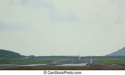 Before take-off - Airplane before take-off accelerates,...