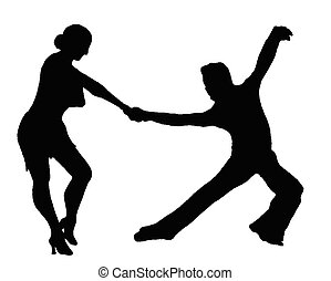 latin, couple, silhouette, dancers, ,
