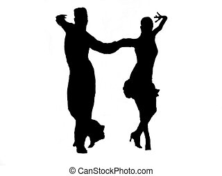 Latin Couple silhouette dancers - Latin fast ballroom dances...