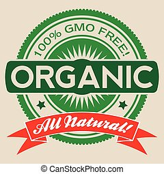 GMO Free Organic Vector Label Isolated - Isolated vector...