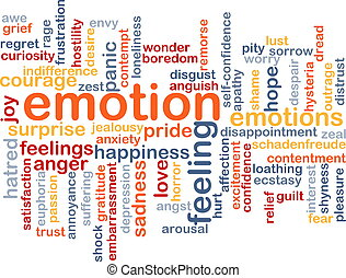 Emotion wordcloud concept illustration - Background text...