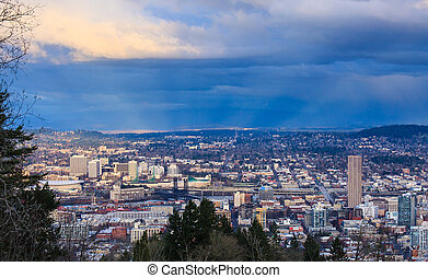 Sunset View of Portland Oregon - View of Portland, Oregon...