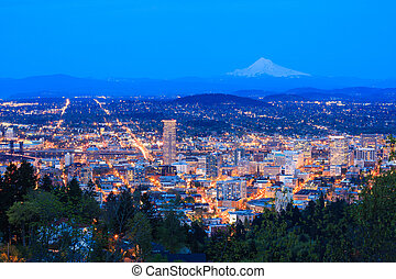 Beautiful Night Vista of Portland, Oregon - Evening View of...