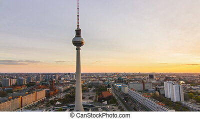 berlin skyline timelapse sunset - berlin skyline cityscape...