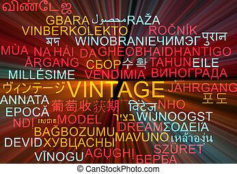 Vintage multilanguage wordcloud background concept glowing