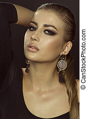 Closeup beauty portrait - Closeup beauty portrait of...