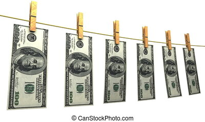 Drying Dollars Loop Matte - Hanging 100 dollars bills...