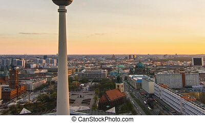 berlin skyline time lapse zoom out - berlin skyline...