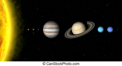 Solar system - The planets in solar system. Sizes are to...
