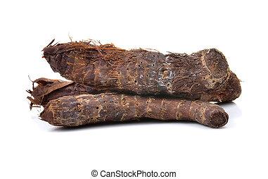 taro root on white background