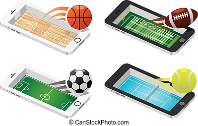 Game on mobile illustration set