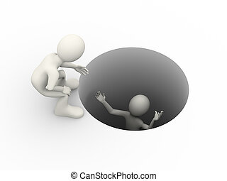 3d man helping person in the hole - 3d illustration of man...