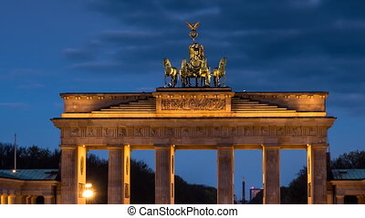 brandenburg gate sunrise zoom out - brandenburg gate at dawn...