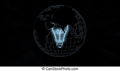 The earth and the light bulb - Under the background of black...