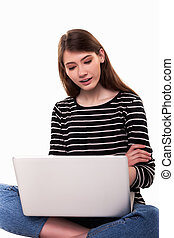 Young Woman with PC Crossed Arms E-commerce Stock Image