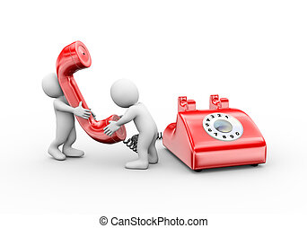 3d man talking on telephone - 3d illustration of people...