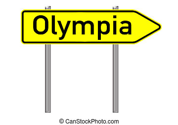 Olympia - Signpost with the word olympia isolated over a...