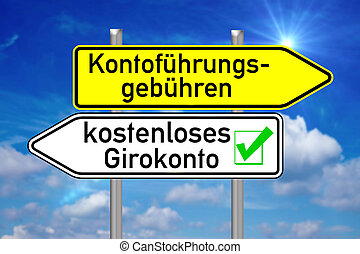 free checking account - Signpost with the german words free...