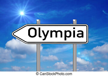 Olympia - Signpost with the word olympia over a blue sky...