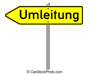 Traffic Sign - Traffic sign with the german word rerouting