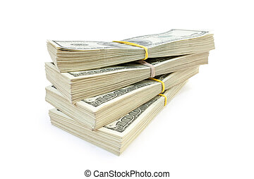 big stack of money - lot of money isolated on white...