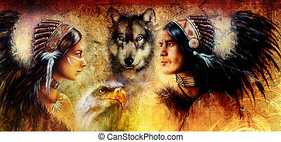 beautiful painting of an young indian man and woman...
