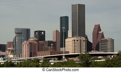 Houston Skyline Southern Texas - Green beltway under perfect...