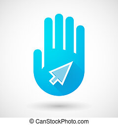 Blue hand icon with a pointer