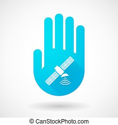 Blue hand icon with a satellite