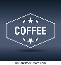 coffee hexagonal white vintage retro style label